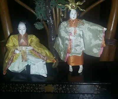 Antique 19th century Japanese Emperor and Empress Gofun Dolls Girls Day