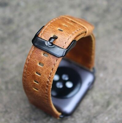 Orange Replacement Leather Watch Straps Bands for Apple Watch Series 1 & 2 38mm