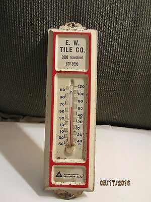 Vintage E. W. Tile Co. 9580 Greenfield 838-8500 Metal Advertising Thermometer