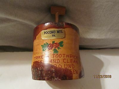 Vintage Wood Tooth Pick Holder From the Pocono Mts, Pa
