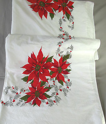 "Vintage Christmas Holiday Poinsetta Holly Berries Tablecloth Cotton 60"" X 72"""