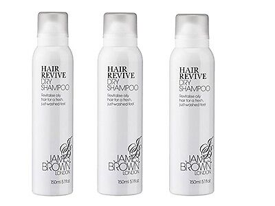 Pack Of 3 New James Brown London Hair Revive Dry Shampoo 150ml