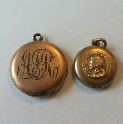 Lot of 2 Antique Victorian Gold Filled Locket Pendants