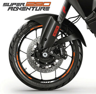 1290 Super Adventure Motorrad Felgen Rand aufkleber set rim stickers ktm stripes