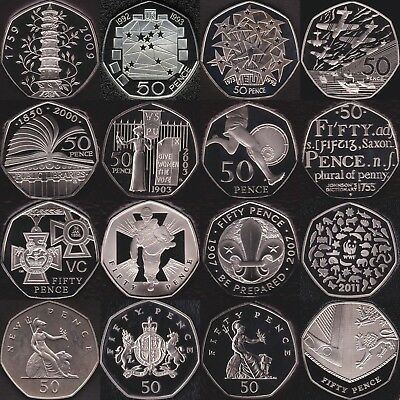 1971 - 2020 Proof 50p Fifty Pence Coins  Choose Your Dates Coin Hunt Kew Gardens