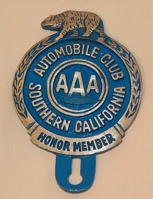 Old Southern California Automobile Club AAA Honor Member license plate topper