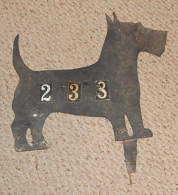 AWESOME Folk Art Metal Scotty Dog shaped House Number Yard Sign