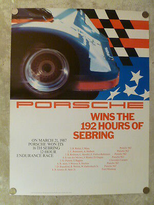 """1987 Porsche 962 """"192 Hrs of Sebring"""" Showroom Advertising Poster RARE!! Awesome"""