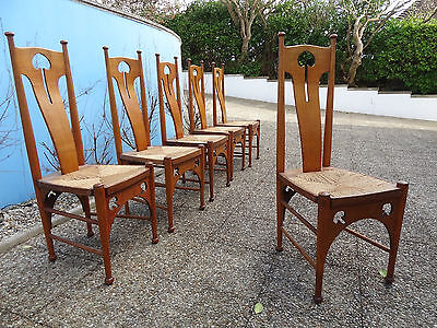 ARTS AND CRAFTS STYLE SOLID OAK DINING CHAIRS - SET OF 6 1900-1930 approx