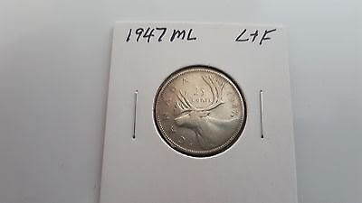 1947 ML - Canada - silver 25 cent coin - Canadian quarter - circulated