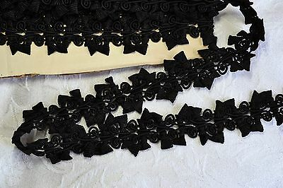 4.36_YDS_Exquisite_Antique_French_Black_Gimp_Trim_Fashion_Edging_Made_In_France