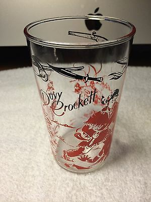 Original Antique Vintage Davy Crockett Collectable Glass Red & Black