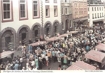 Scarce Old Postcard  - The Open Air Markets - St. Peter Port - Guernsey C.1979