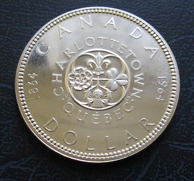 1964 Canada Silver Dollar, Quebec Charlottetown, UNC Prooflike