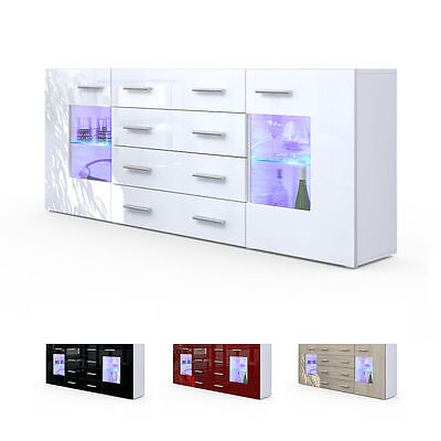 "White High Gloss Modern Sideboard Cupboard Unit Contemporary ""Grömitz V2"""