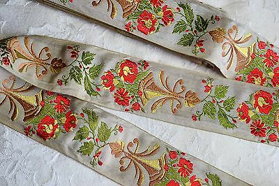 5.87_Yds_Antique_Embroidered_French_Silk_Brocade_Ribbon_N.o.s_Made_In_France