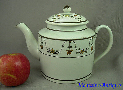 Lovely Large Antique  Cylinder Pearlware Teapot  c. 1790