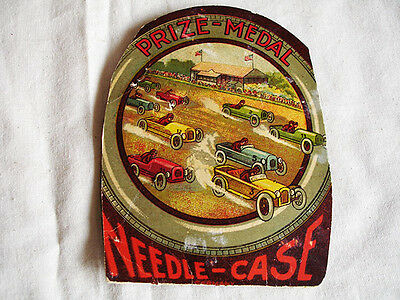 Vintage Sewing Needle-Case Featuring Vintage Indianapolis Style Cars Racing NR
