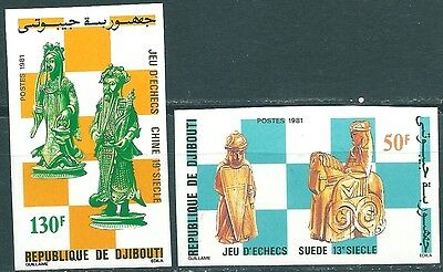 Djibouti, 1981, Chess, 2 stamps inperforated