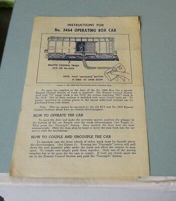 1950 Lionel Trains How To Operate No. 3464 Operating Box Car Instructions Sheet