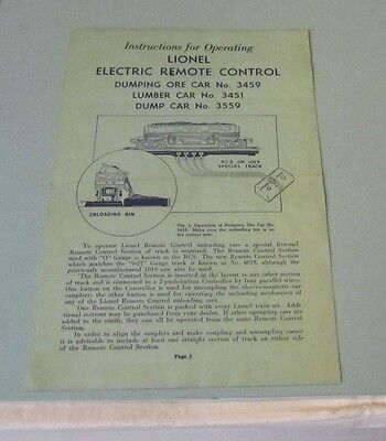 1948 Lionel Trains Operating Instructions Cars 3459 3451 3559 Ore Lumber Dump