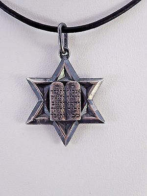 "Oxidized Sterling Silver ""Star of David"" Pendant Charm Judaica"