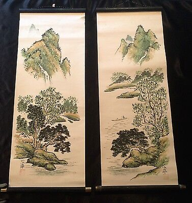 Vintage Asian Original Paper Watercolor Set Of 2 Scrolls