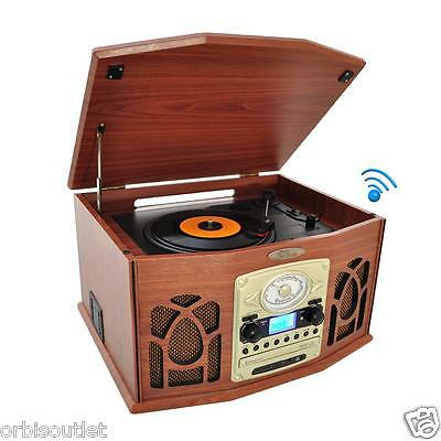 PYLE Bluetooth Retro Vintage Classic Style CD Turntable Vinyl Record Player with