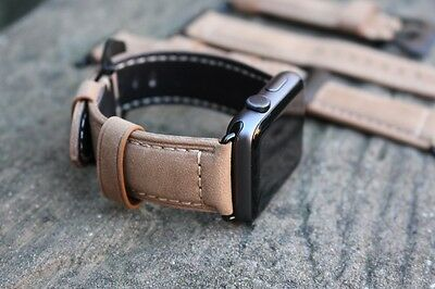 Brown Replacement Leather Watch Straps Bands for Apple Watch Series 1 & 2 38mm