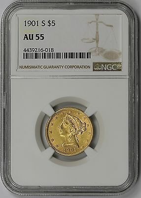 1901-S Liberty Head Gold Half Eagle $5 AU 55 NGC