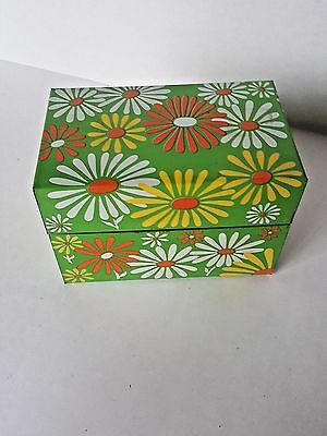 """Groovy, Vintage """"Metal"""" Recipe Box! 1960s Flower Power!! Excellent- Gift Giving"""
