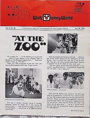 Rare July 1973 Disney Wdw Eyes & Ears Cast Newsletter Zoo Costumed Characters