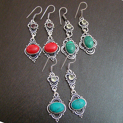 Fair Mix Gemstone  Silver Plated Wholesale Earrings Lot  S0702