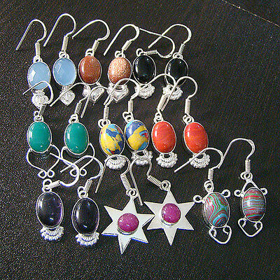 Mix Gemstone 9 Pcs 925 Marked Silver Plated Wholesale Earrings Lot S1170