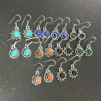 10 Pcs Mix Gemstone Fashion Jewelry  Silver Plated Wholesale Earrings Lot S2523