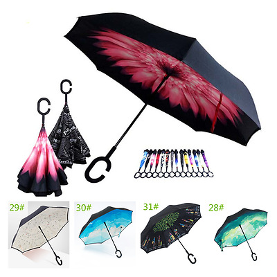 C-Handle Double Layer Windproof Big Umbrella Multi-color  Upside Down Design