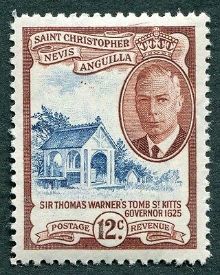ST. CHRISTOPHER NEVIS AND ANGUILLA 1952 12c SG100 MH FG Thomas Warner #W14