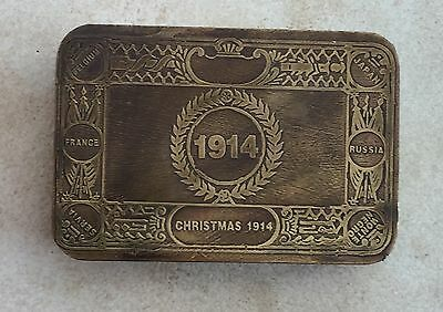 Brass Tobacco Tin. 1914 Christmas Gift For Troops. Empty