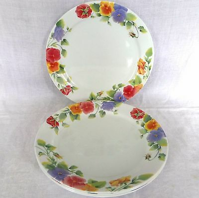 Set of 4 Corelle Summer Blush Pansies Dinner Plates by Corning 10 1/4""