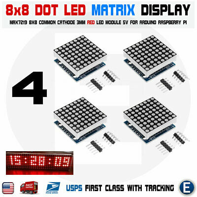 4pcs MAX7219 red dot matrix 8x8 8*8 led display module Arduino Raspberry pi