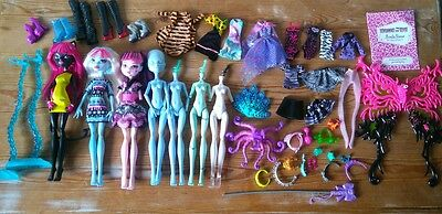 monster high dolls, clothes, accessories bundle, parts/ play/ ooak projects