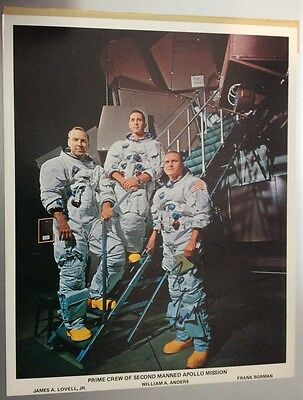 Astronauts James A. Lovell, William A. Anders, Frank Borman Autograph 8 X 10""