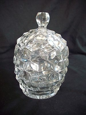 Clear Glass LIDDED STORAGE JAR POT Pineapple Chunky Textured Surface H=17cm