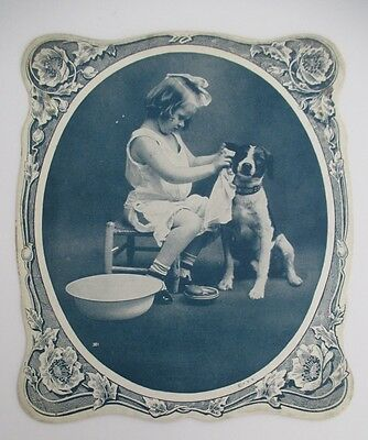 Vintage Salesman's Sample Advertising Fan with Young Girl Washing Her Dog