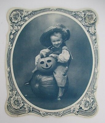 Vintage Salesman's Sample Advertising Fan with Boy and Halloween Jack O Lantern