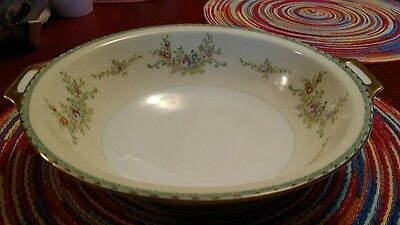 """Vintage Meito China 10"""" Round Floral Serving Bowl W/Handles Stateside Free Ship"""