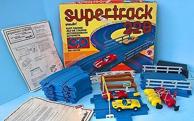 Vintage 1970's Slot Car Set by PLAYART - SUPER TRACK 22B - Battery Operated