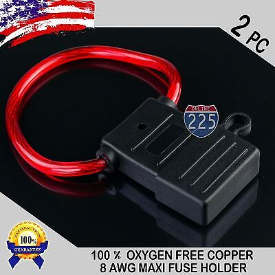 2 Pack 8 Gauge APX MAXI Inline Blade Fuse Holder 100% OFC Copper Wire Heavy Duty