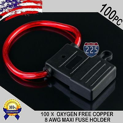 100 Pack 8 Gauge APX MAXI Inline Blade Fuse Holder 100% OFC Copper Wire 32V DC
