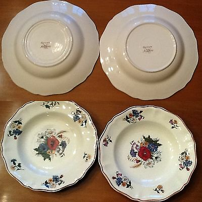 LOT 2 ASSIETTES  CREUSES 25 cm  ANCIENNES SIGNEES AGRESTE SARREGUEMINES FRANCE